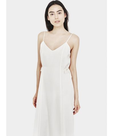 Relaxed Cotton Silk Slip Dress - White