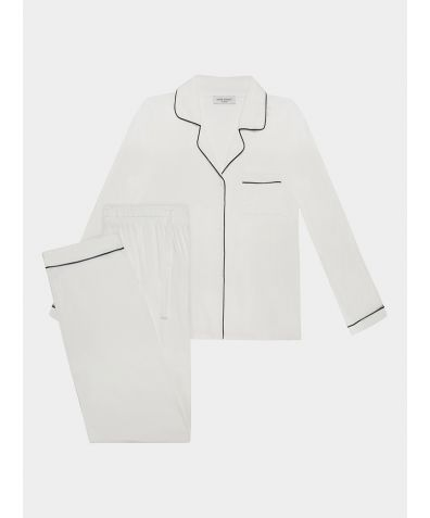 Isla Bamboo Viscose Pyjama Trouser Set - White