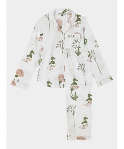 Women's Cotton Pyjama Trouser Set - White Flower Market