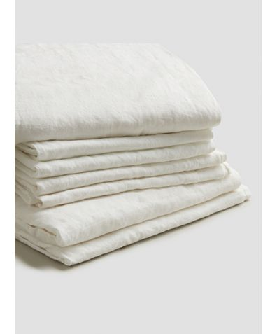 Natural French Flax Linen Bedtime Bundle - White