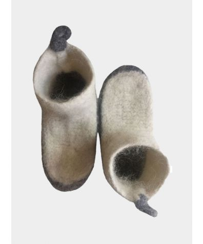 Nordic Winter Icelandic Wool Slipper- Socks - Grey & White