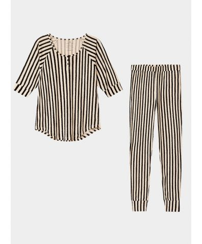 Women's Everyday Organic Pima Cotton Pyjama Trousers Set - Stripe