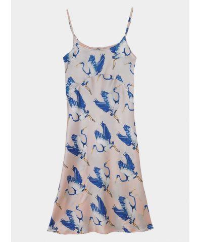 Women's Satin Nightdress - Blue Heron