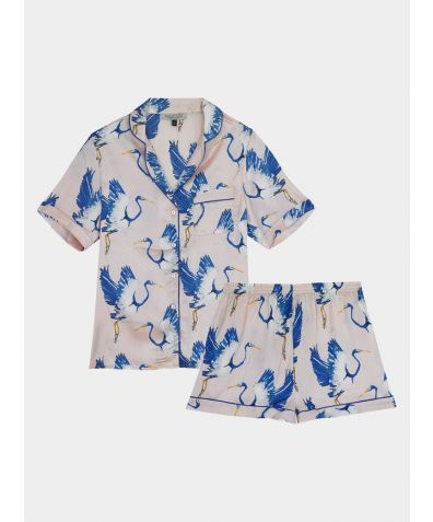 Women's Satin Pyjama Short Set - Blue Heron