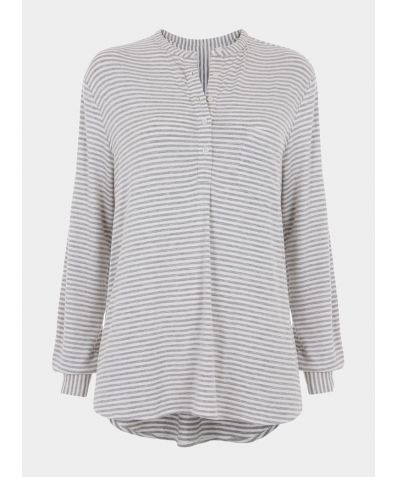 Granddad Pyjama Top - Grey Stripe