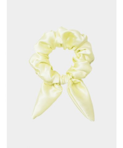 Silk Scrunchie with Knot Detail - Lemon