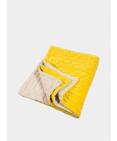 Velvet Linen Bedspread -  Chartreuse