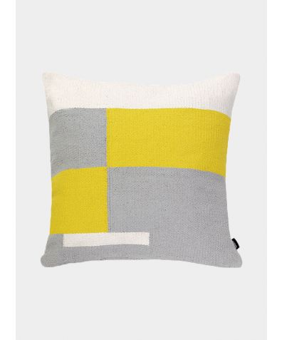 Jama-Khan Hand Woven Cotton Square Cushion - Grey / Yellow