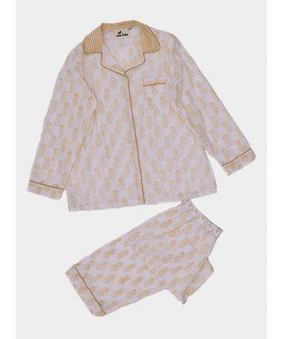 Women's Organic Cotton Pyjama Trouser Set - Yellow Pineapple