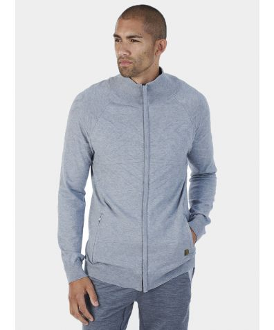Mens Merino Zip Up Top - Silver