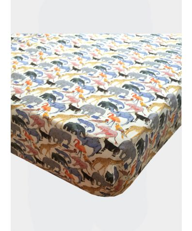 Liberty Print Fitted Sheet - Queue For the Zoo Yellow