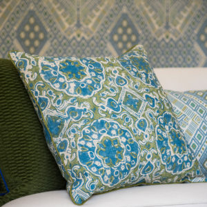 Wicklewood's Ashcombe Blue Green Cushion