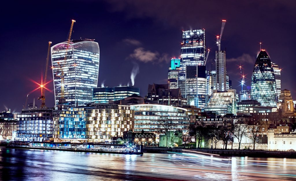 Image of London skyline at night-time