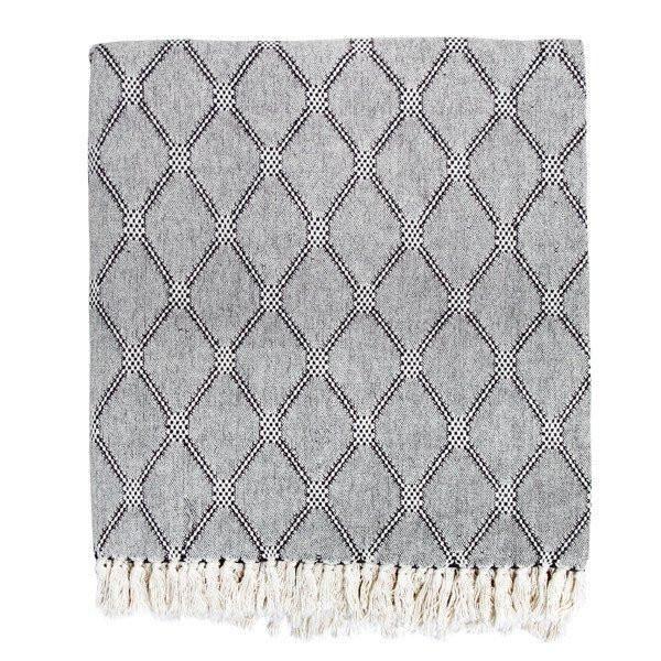 Ruby Roost Woven Cotton throw Black & White Diamond