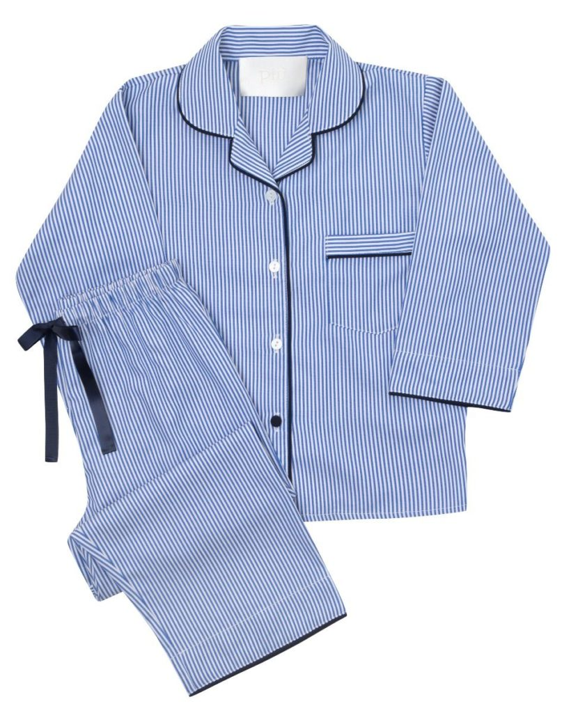 Piu Classic Kids Bamboo Pyjama Set – Navy Blue with Thin Stripes