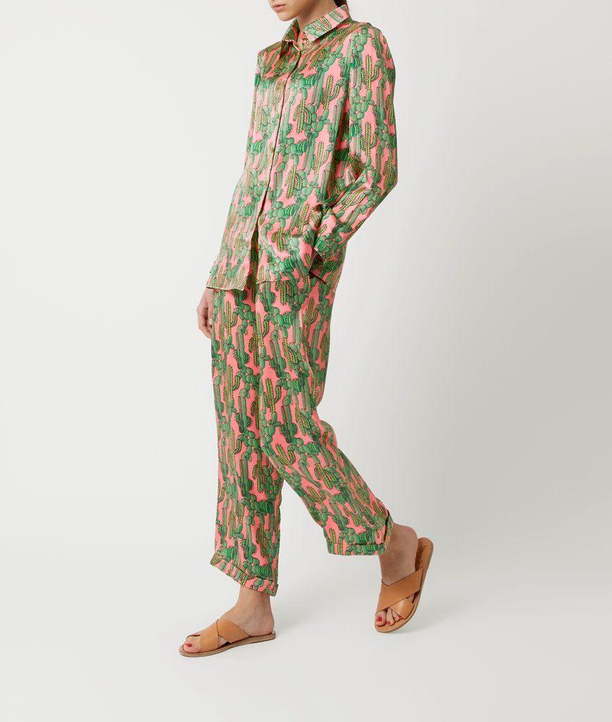 Mabel Silk Pyjama Shirt - Pink Cactus