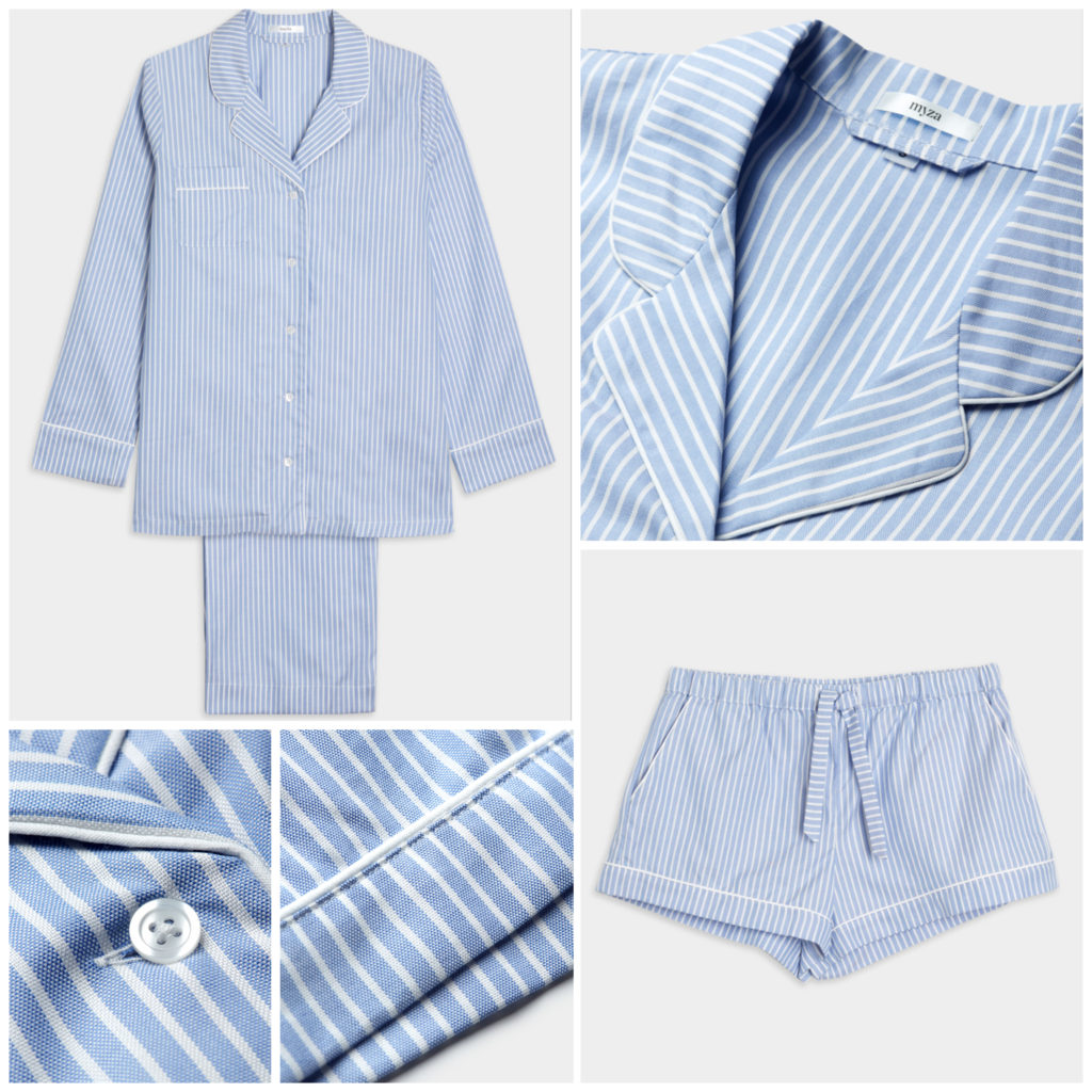 Luxury Cotton Pyjama Set - Blue & White Stripe
