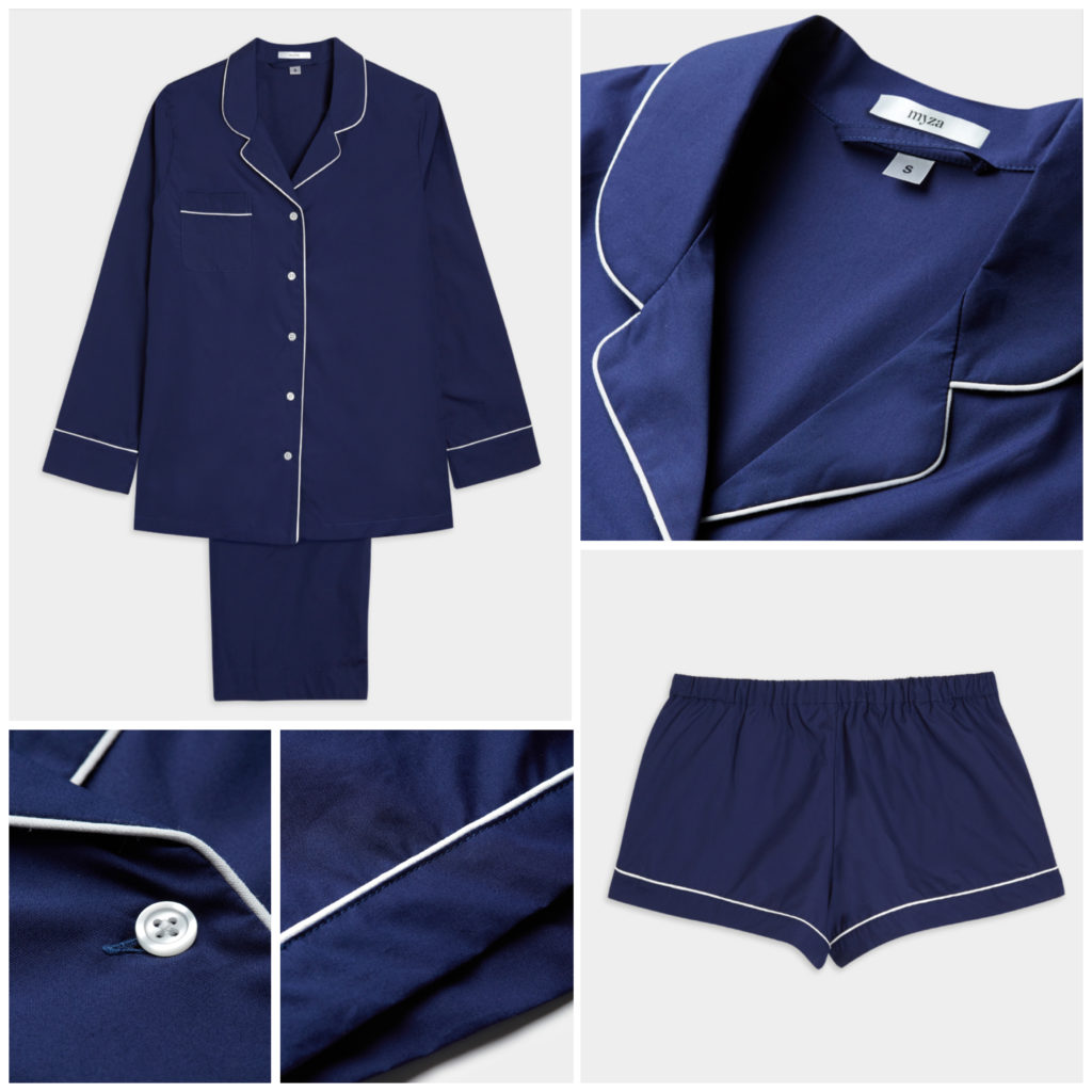 Luxury Cotton Pyjama Set - Navy with White Piping