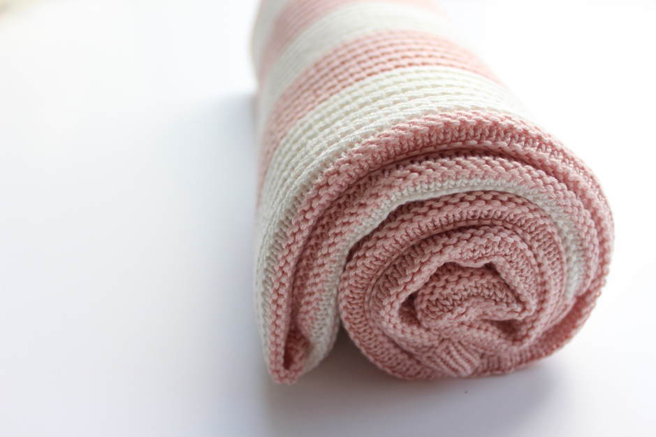 Organic Knitted Bamboo Blanket - Blush