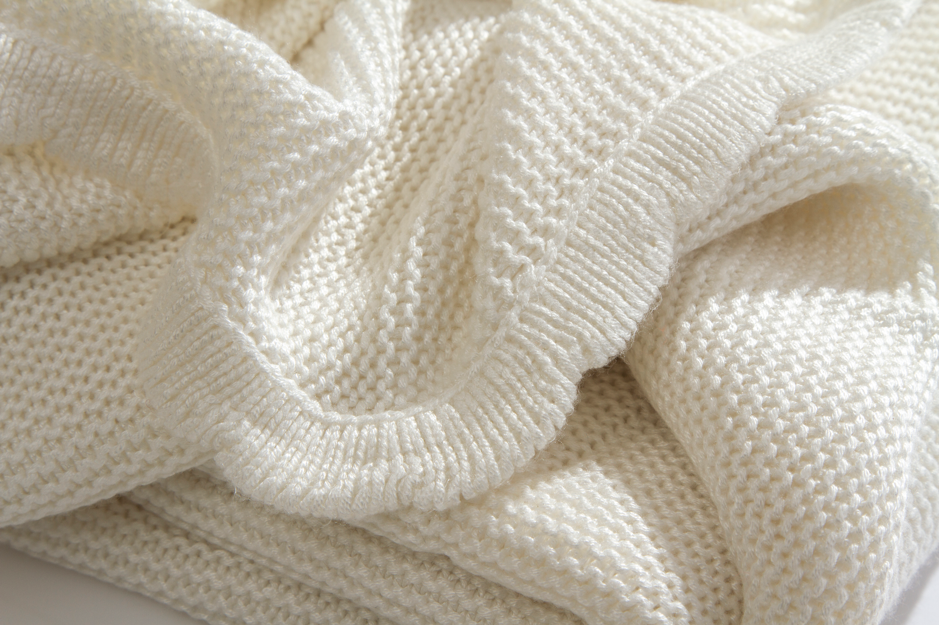 Organic Knitted Bamboo Receiving Blanket - Ivory Moon