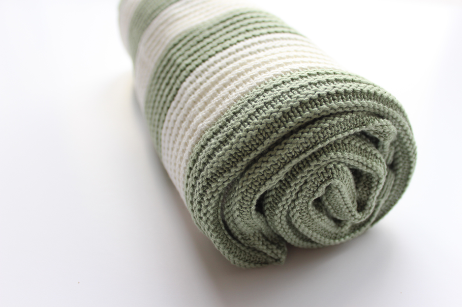 Organic Knitted Bamboo Blanket - English Sage