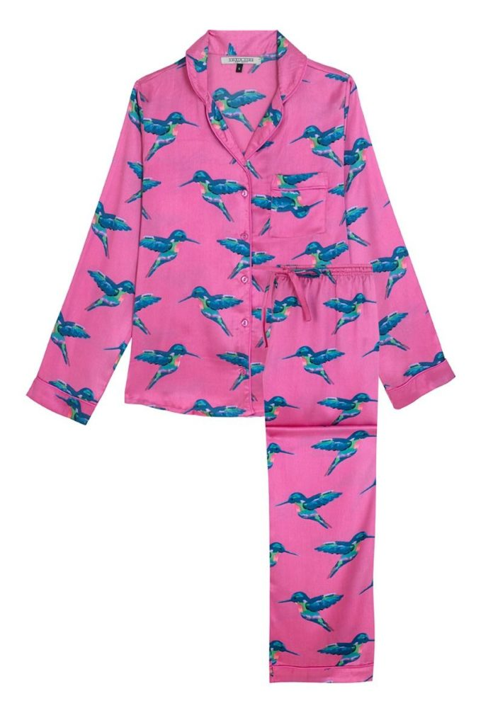 Women's Pyjama Trouser Set - Hot Pink Hummingbird