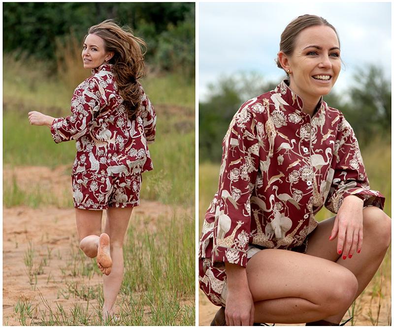 Organic Cotton Safari Pyjamas - Protea Red