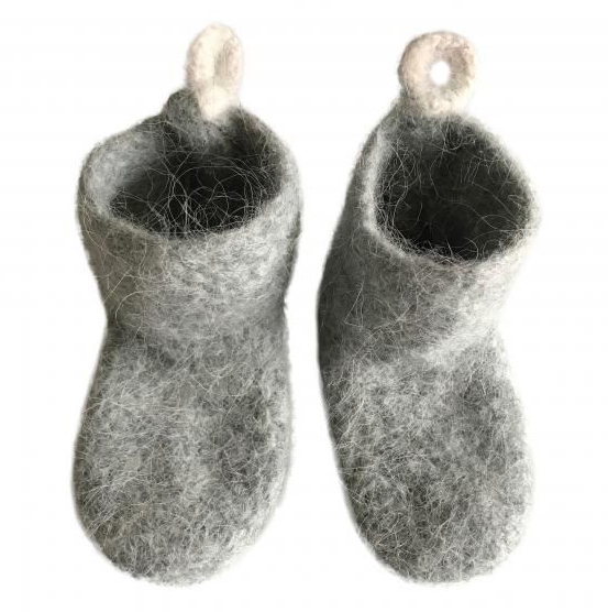 Children's Happy Icelandic Wool Slipper- Socks - Light Grey