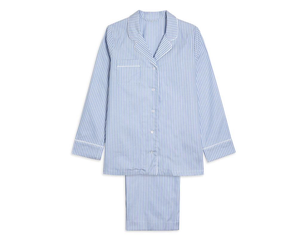 Women's Cotton Pyjama Trouser Set - Blue & White Stripe