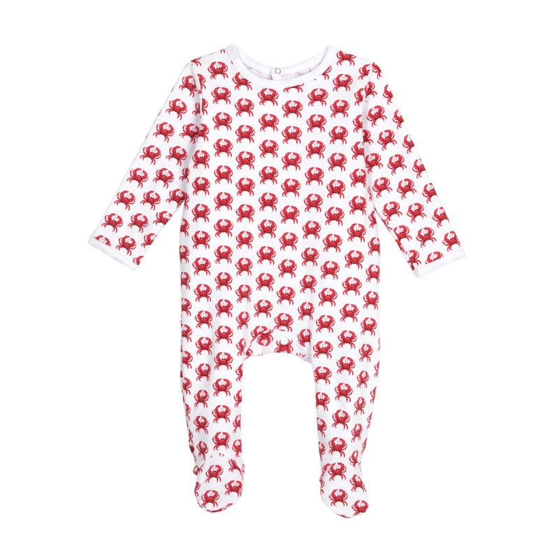 Organic Cotton Sleepsuit - Red Crab Print