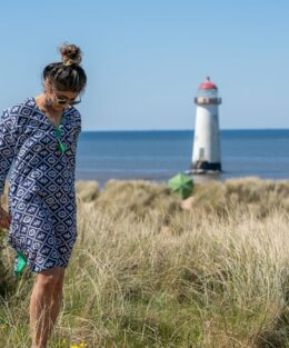 Model in Woven Riches kaftan by lighthouse