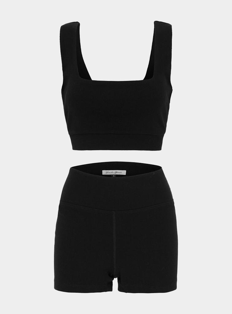GUARDI - Eden Ribbed Organic Cotton Short Set - Black