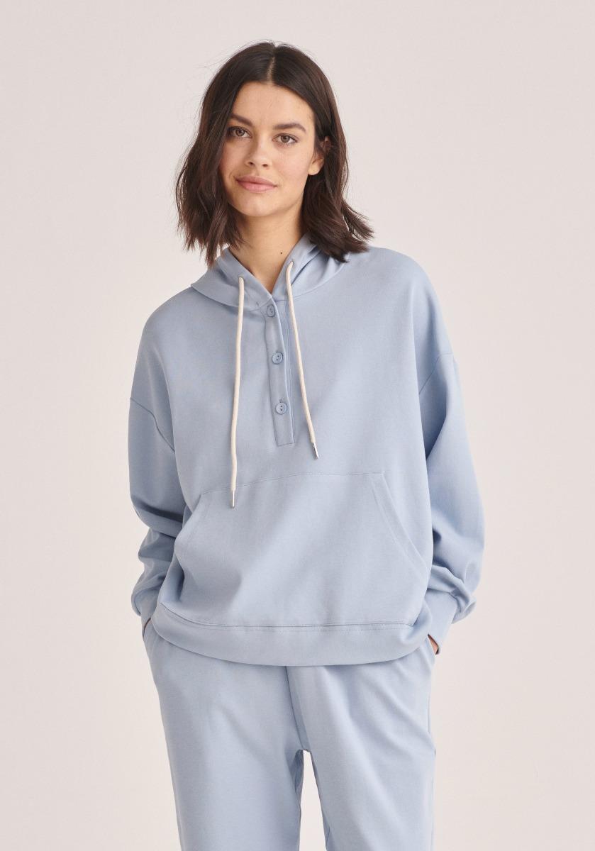 Paisie - Cotton Button Hoodie - Light Blue
