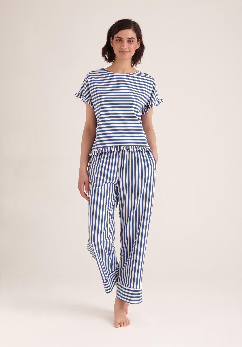 Paisie - Women's Pyjama Trouser - Blue & White Stripe