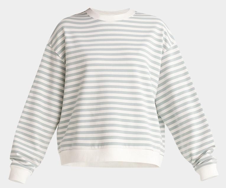 Paisie Cotton Sweatshirt in Light Green and White Stripe